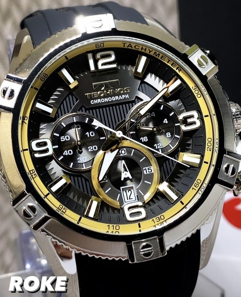 NEWモデル新品テクノスTECHNOS腕時計クロノグラフラバーベルトイエロー 国内正規保証【高級セームプレゼント送料無料】_画像1