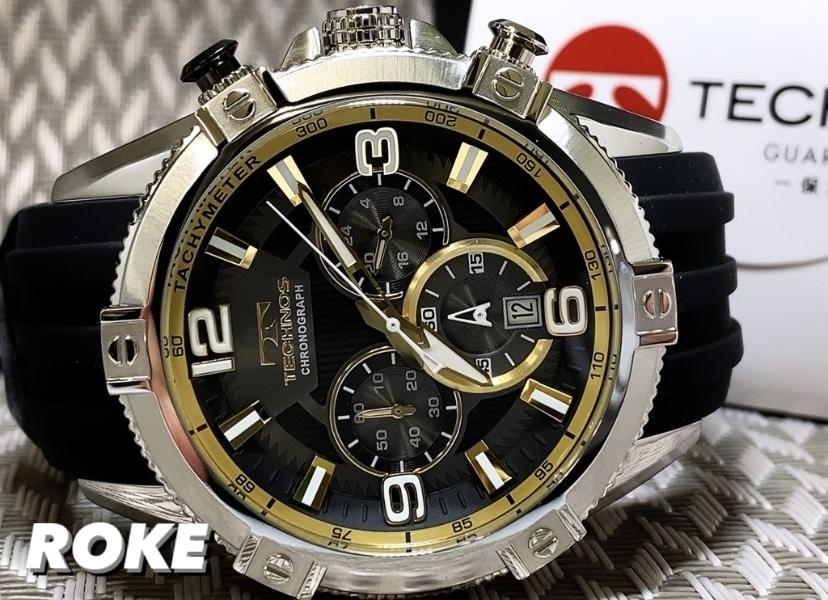 NEWモデル新品テクノスTECHNOS腕時計クロノグラフラバーベルトイエロー 国内正規保証【高級セームプレゼント送料無料】_画像2