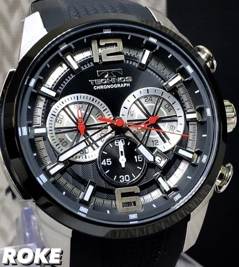 NEWモデル 新品 テクノス TECHNOS 正規品 腕時計 クロノグラフ ラバーベルト国内正規保証 3Dフェイス【セーム革付き送料無料】_画像2