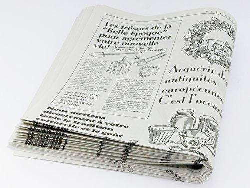 フランスの新聞紙風プリント お花やプレゼント,ギフト商品のラッピングに! 仏字・英字 包装紙 20枚 【ノーブランド】_画像3
