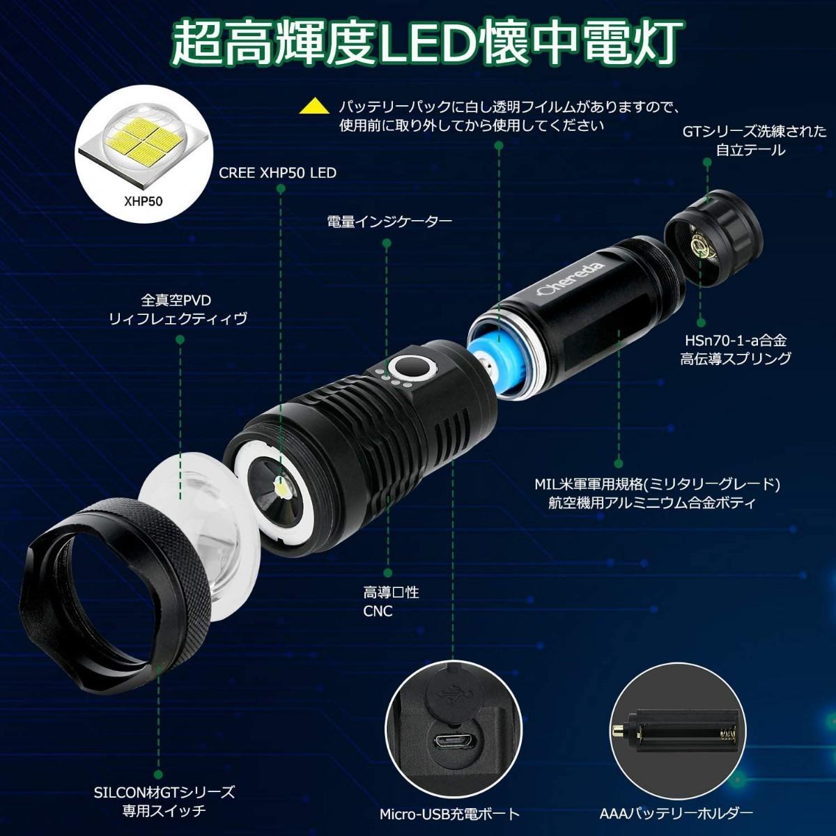 懐中電灯 充電式 LED ライト usb充電式 超高輝度 ハンディライト 防災対策 3000ルーメン 5モード調光
