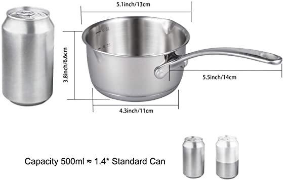 シルバー 500ml IMEEA ミルクパン 片手鍋 18-10ステンレス ソースパン 13cm IH対応 500ml 目盛付ミ_画像3