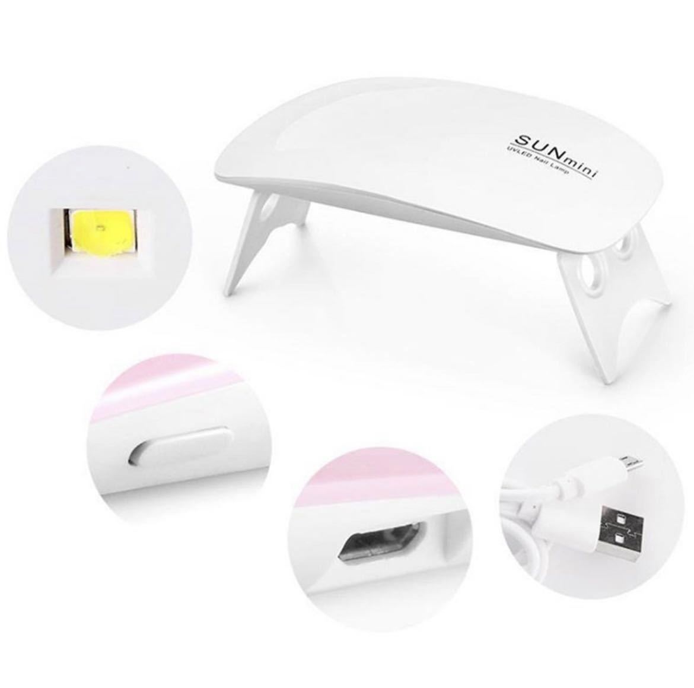 ネイルライト UV LED ライト タイマー機能 ジェルネイル ミニ コンパクト 薄型 6W 硬化 持ち運び便利 USB給電 ネイルパーツ付き