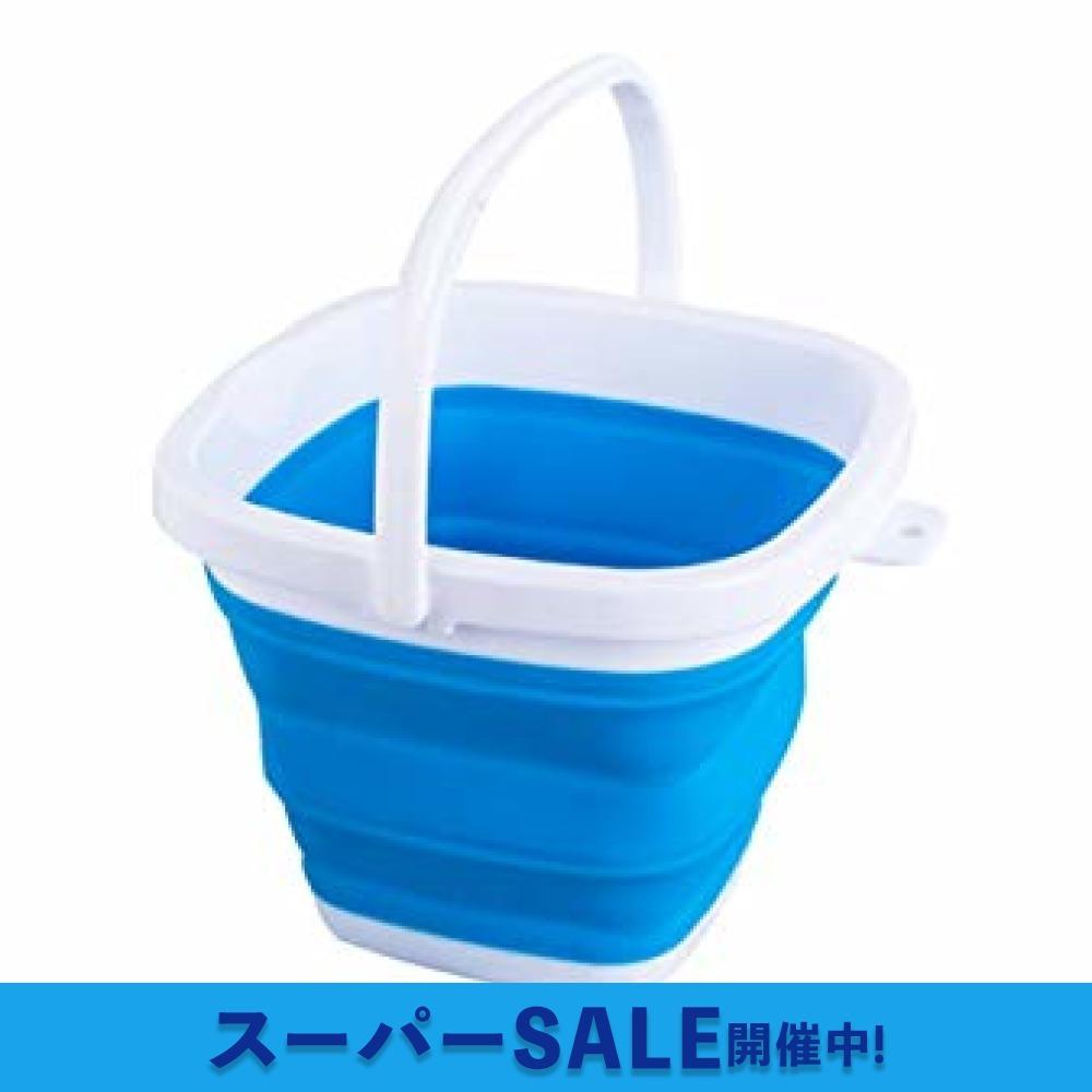 ブルー 5L EtetnalWings 正方形 折りたたみ バケツ 洗車 掃除 洗濯 アウトドア 園芸 釣り コンパクト 収納 _画像1