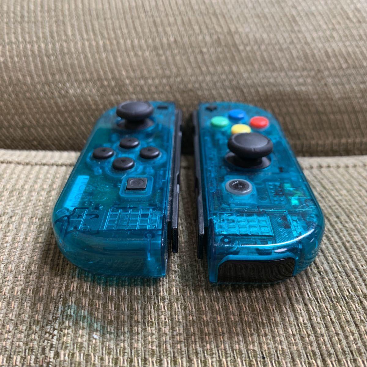 動作確認済み Nintendo Switch Joy-Con スケルトン グリーン 緑色 2個セット 左右 LR +- ニンテンドースイッチジョイコン