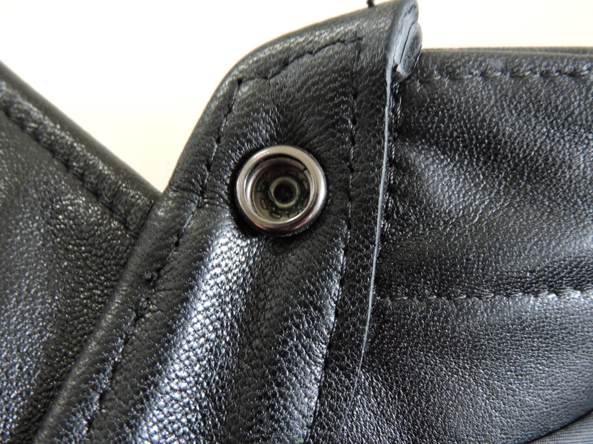 [B127I136] Y's ワイズ LEATHER レザー シャツ 馬革 ブラック サイズ36 中古品_画像10