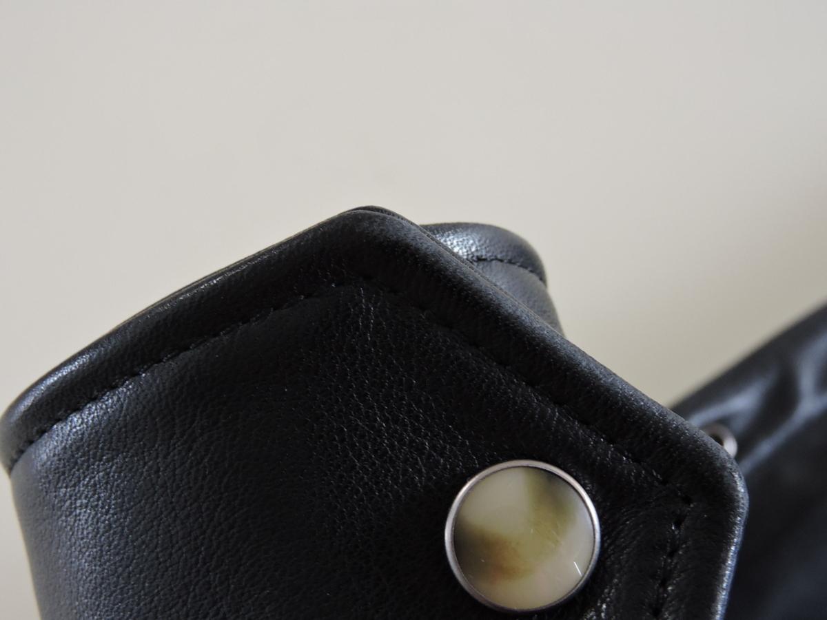 [B127I136] Y's ワイズ LEATHER レザー シャツ 馬革 ブラック サイズ36 中古品_画像8