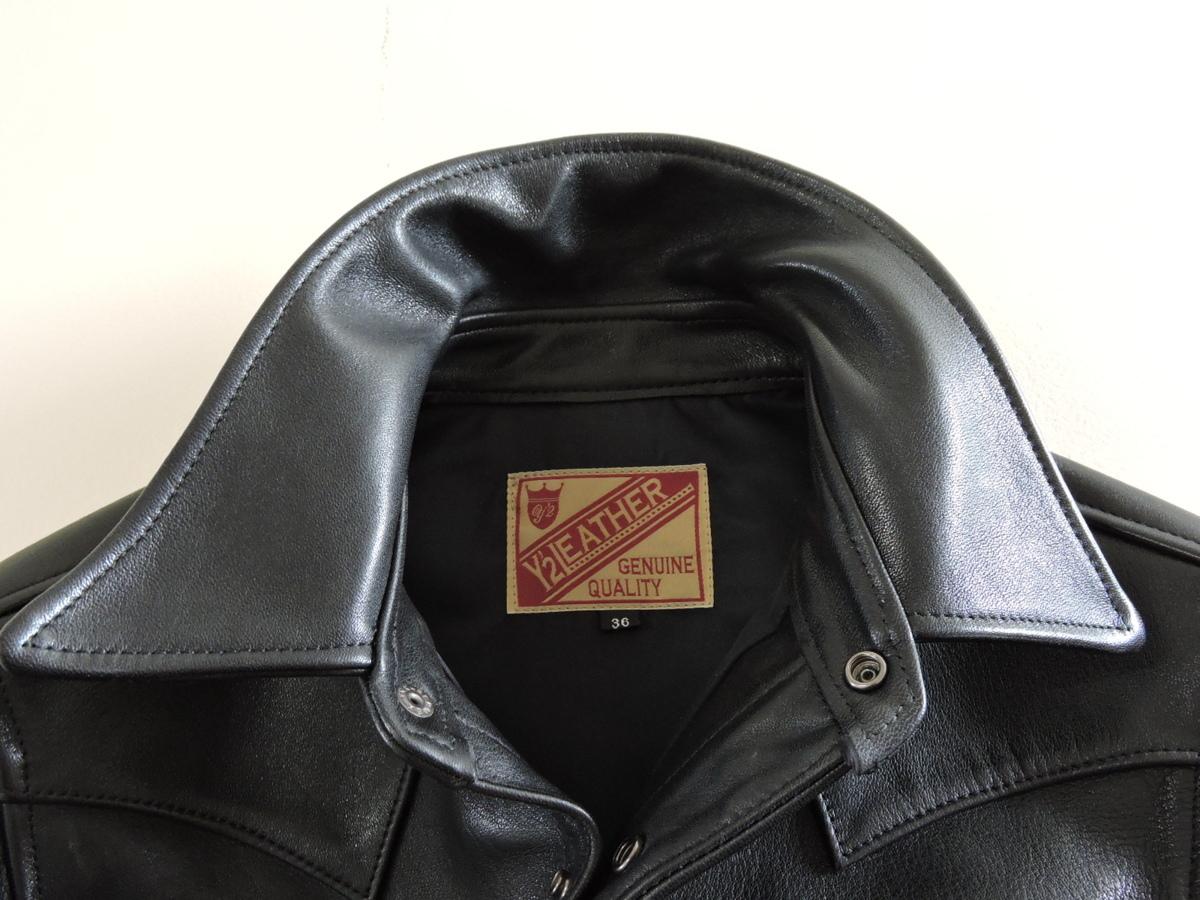 [B127I136] Y's ワイズ LEATHER レザー シャツ 馬革 ブラック サイズ36 中古品_画像4