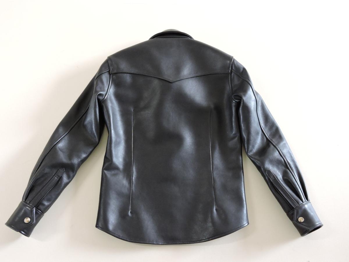 [B127I136] Y's ワイズ LEATHER レザー シャツ 馬革 ブラック サイズ36 中古品_画像2