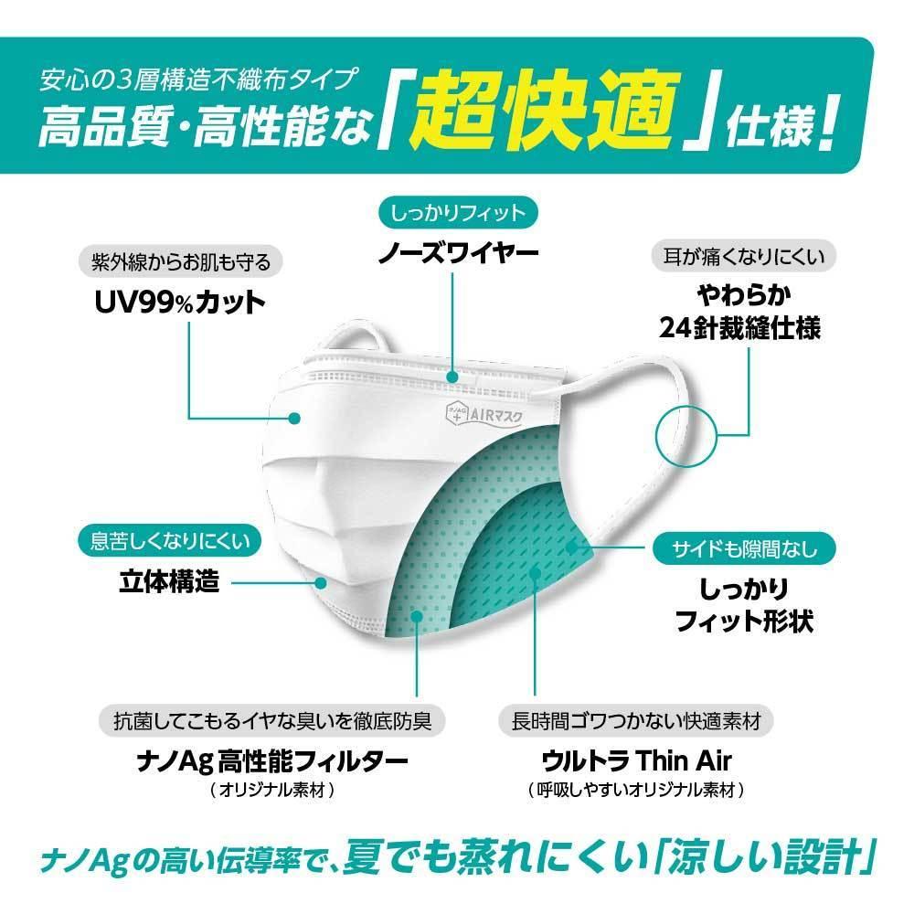 ナノAG AIR マスク 日本製 100枚 1箱 50枚 普通サイズ 使い捨て 不織布マスク N95 規格相当のフィルター 花粉 BFE/VFE/PFE/UV 99%カット_画像3