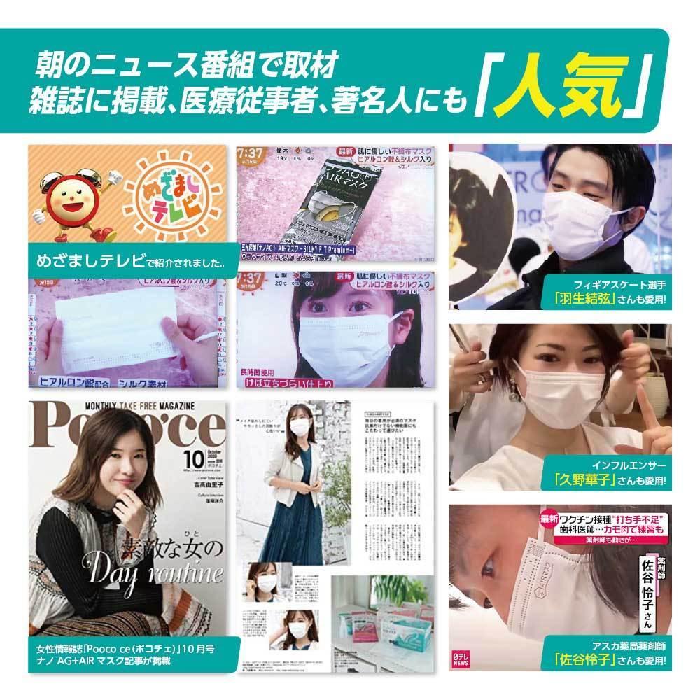 ナノAG AIR マスク 日本製 100枚 1箱 50枚 普通サイズ 使い捨て 不織布マスク N95 規格相当のフィルター 花粉 BFE/VFE/PFE/UV 99%カット_画像7