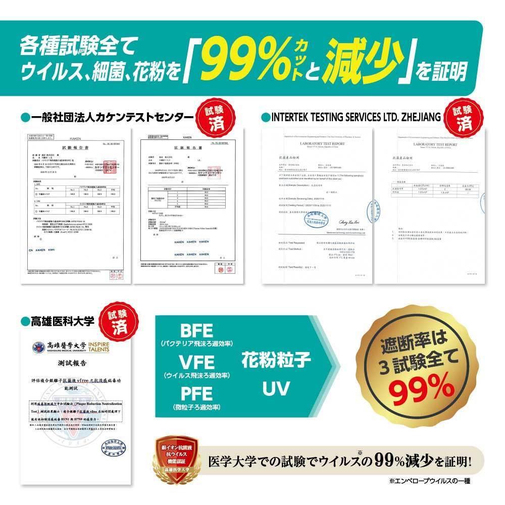 ナノAG AIR マスク 日本製 100枚 1箱 50枚 普通サイズ 使い捨て 不織布マスク N95 規格相当のフィルター 花粉 BFE/VFE/PFE/UV 99%カット_画像6