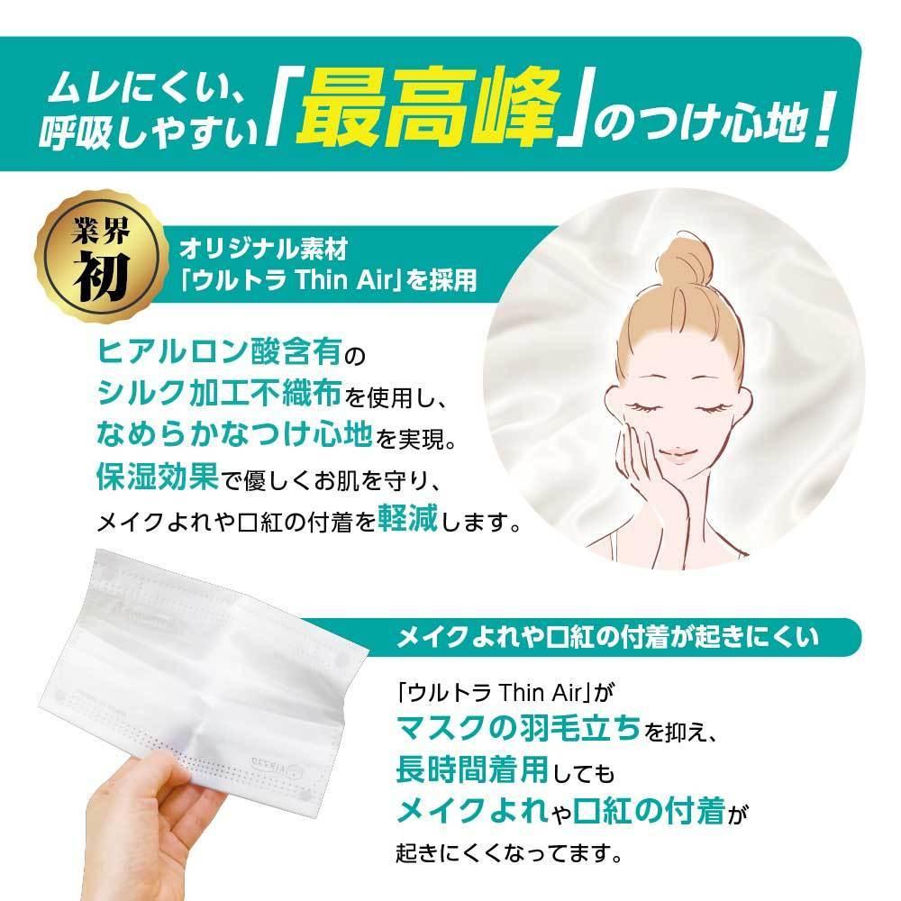 ナノAG AIR マスク 日本製 100枚 1箱 50枚 普通サイズ 使い捨て 不織布マスク N95 規格相当のフィルター 花粉 BFE/VFE/PFE/UV 99%カット_画像4