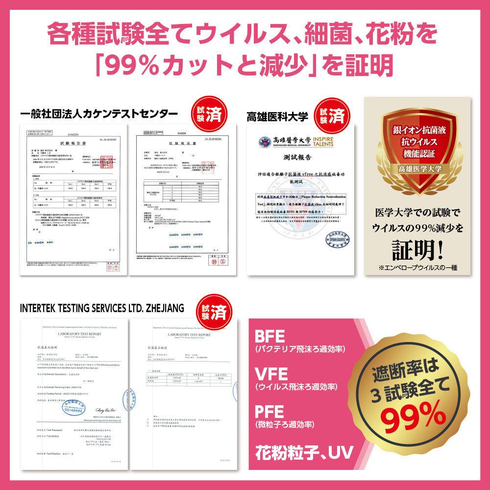 ナノAG AIR マスク 日本製 50枚入 小さいサイズ 使い捨て 不織布マスク N95 規格相当のフィルター 花粉 PM2.5 BFE/VFE/PFE/UV 99%カット_画像7