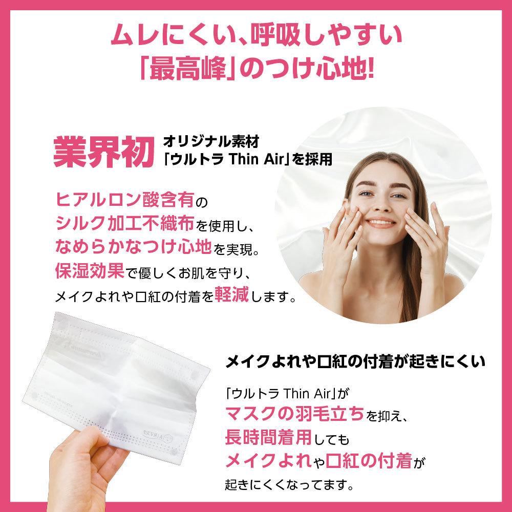 ナノAG AIR マスク 日本製 50枚入 小さいサイズ 使い捨て 不織布マスク N95 規格相当のフィルター 花粉 PM2.5 BFE/VFE/PFE/UV 99%カット_画像4