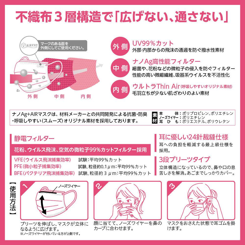 ナノAG AIR マスク 日本製 50枚入 小さいサイズ 使い捨て 不織布マスク N95 規格相当のフィルター 花粉 PM2.5 BFE/VFE/PFE/UV 99%カット_画像8