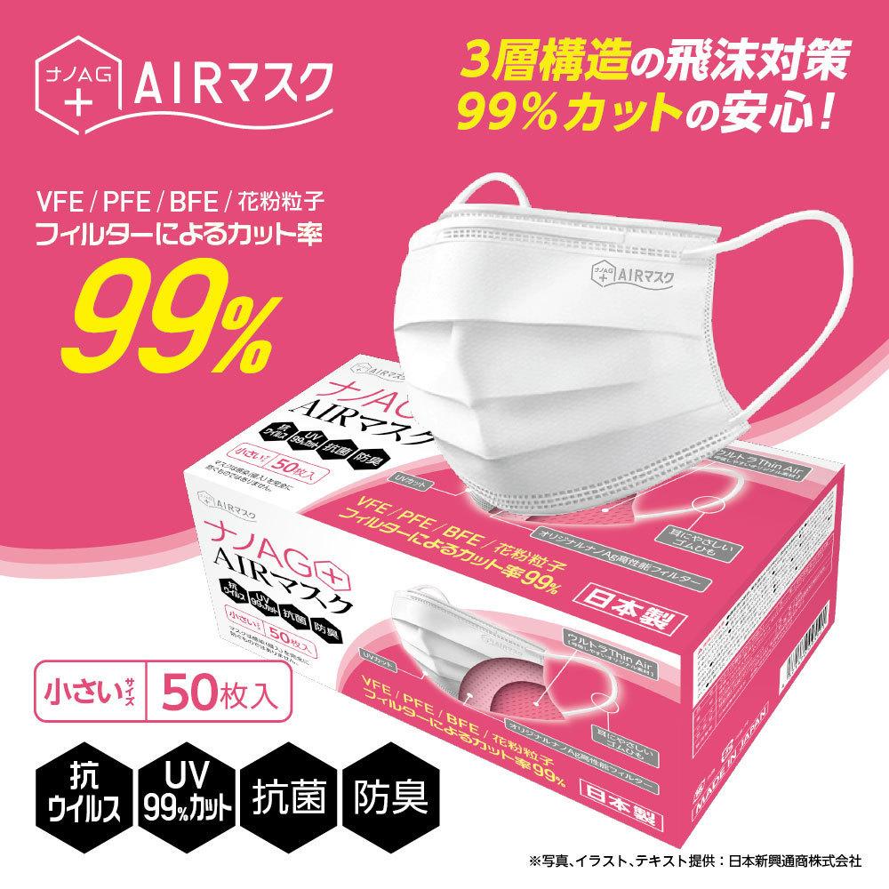 ナノAG AIR マスク 日本製 50枚入 小さいサイズ 使い捨て 不織布マスク N95 規格相当のフィルター 花粉 PM2.5 BFE/VFE/PFE/UV 99%カット_画像2
