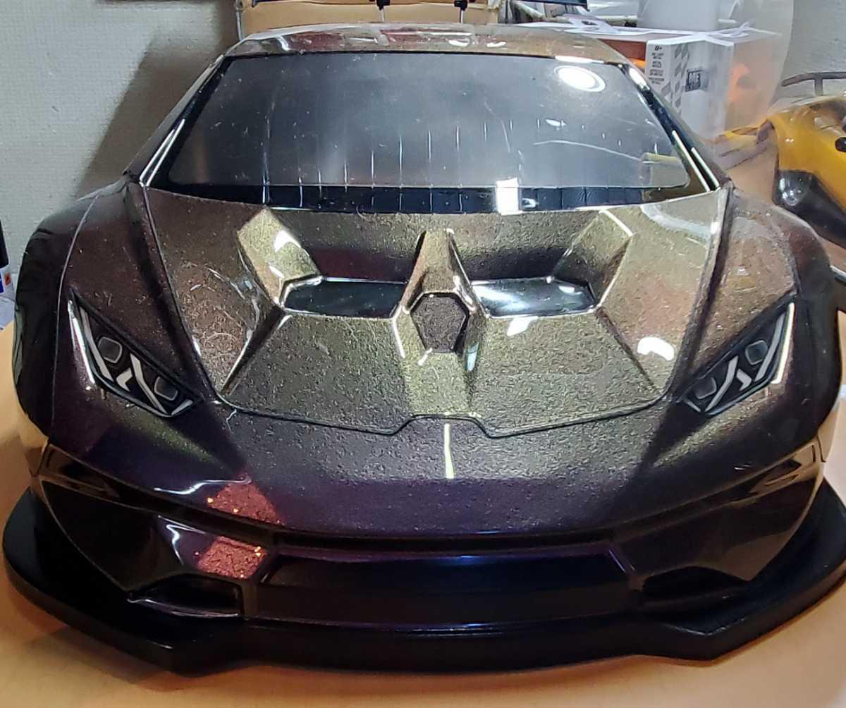 3レーシング 1/10 LGBボディキット(ランボルギーニ ウラカンLB仕様?)マジョーラカラー塗装済み 激レア品 ハイパーカー ドリフト _画像7
