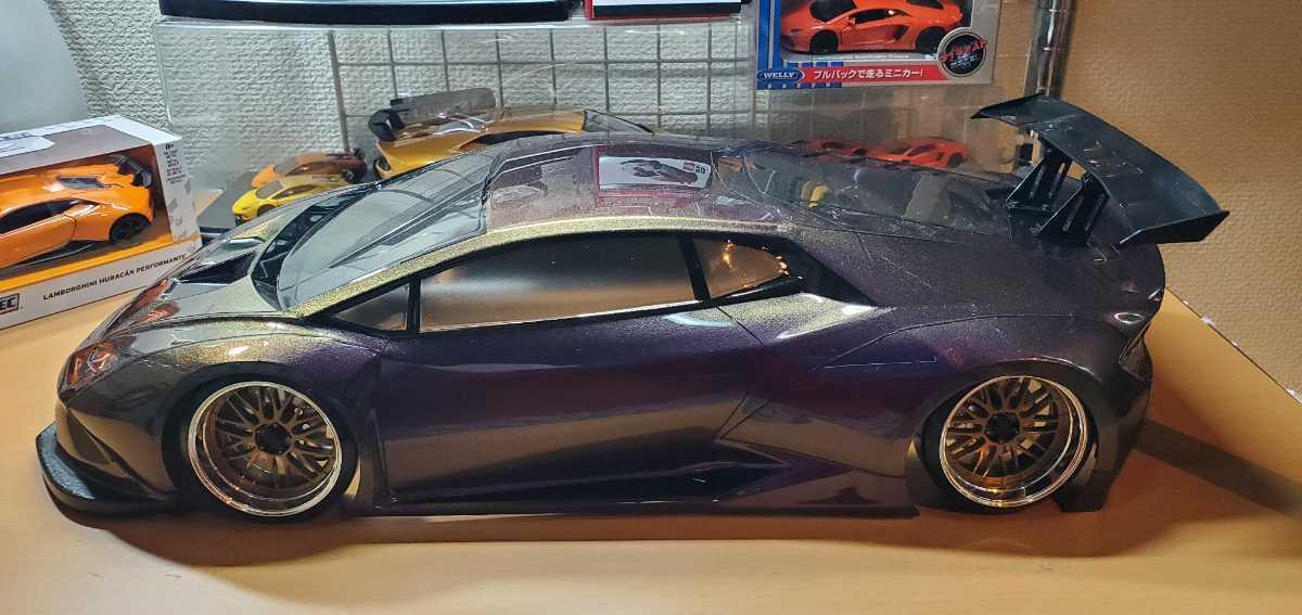3レーシング 1/10 LGBボディキット(ランボルギーニ ウラカンLB仕様?)マジョーラカラー塗装済み 激レア品 ハイパーカー ドリフト _画像4