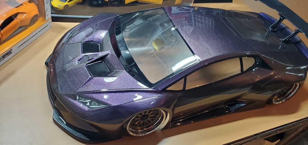 3レーシング 1/10 LGBボディキット(ランボルギーニ ウラカンLB仕様?)マジョーラカラー塗装済み 激レア品 ハイパーカー ドリフト _画像2