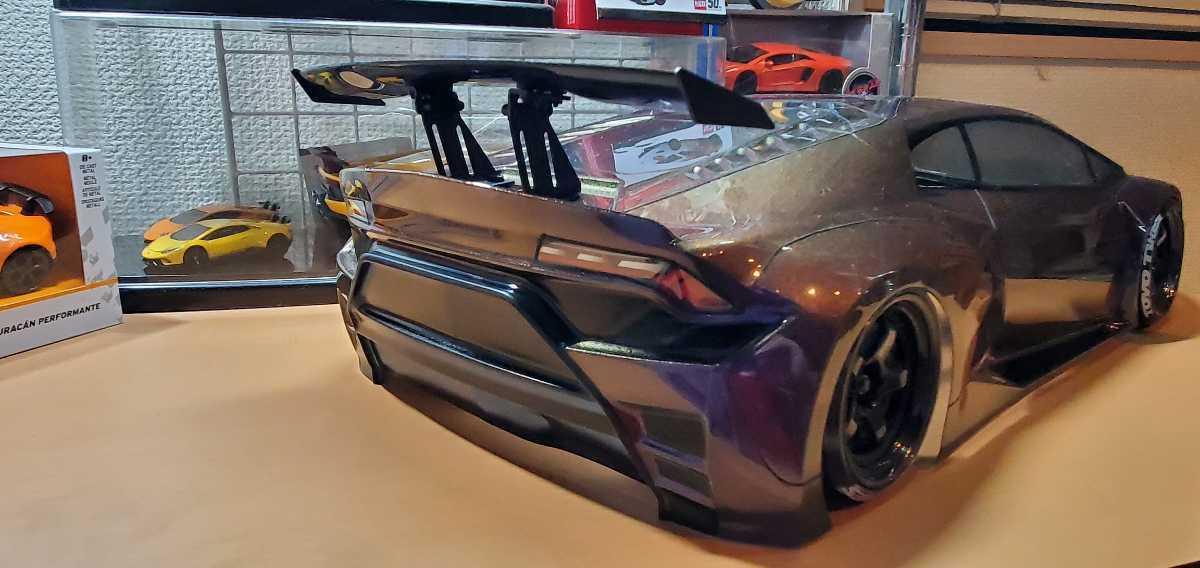 3レーシング 1/10 LGBボディキット(ランボルギーニ ウラカンLB仕様?)マジョーラカラー塗装済み 激レア品 ハイパーカー ドリフト _画像6