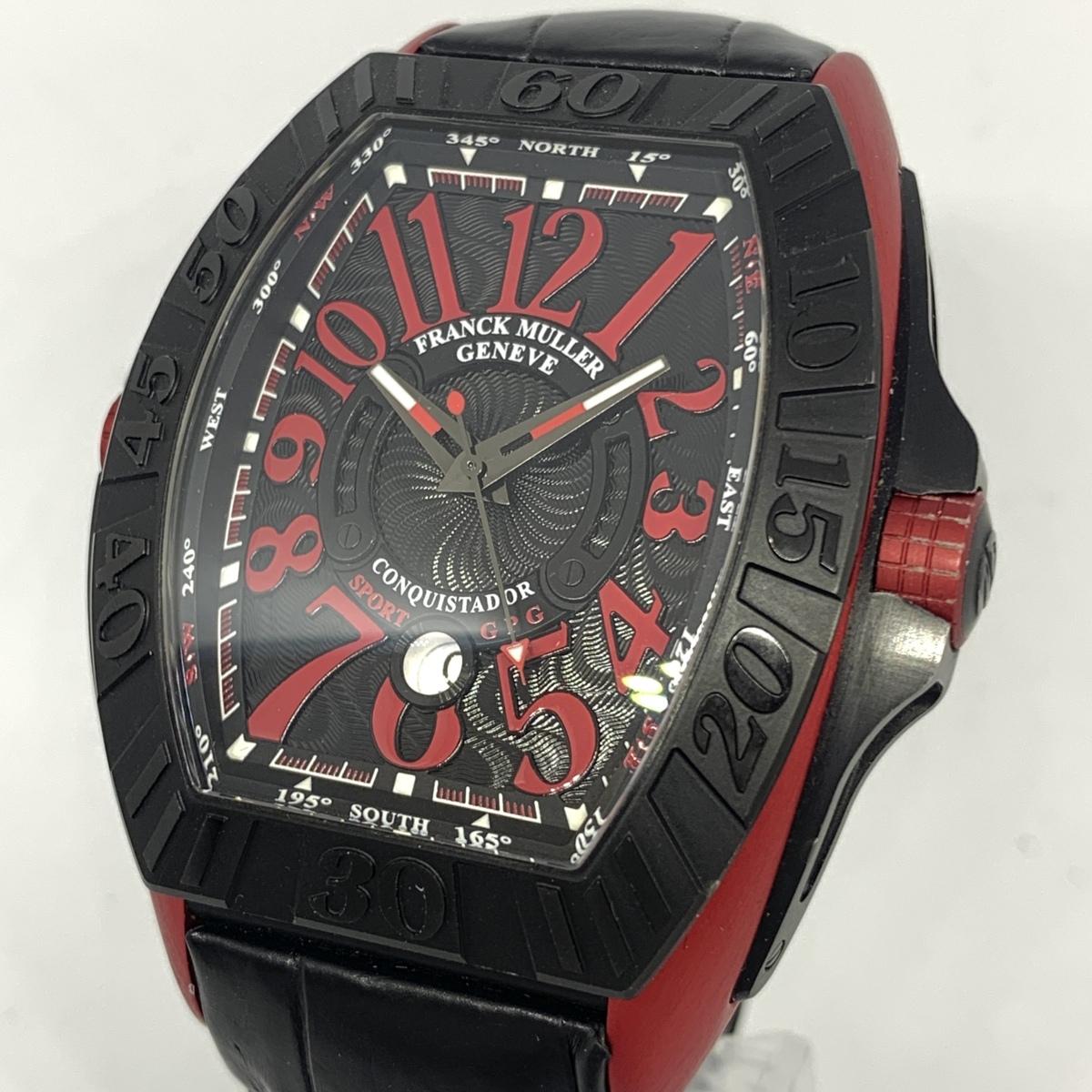 1円~ フランクミュラー コンキスタドール グランプリ 黒文字盤 ギョーシェ 9900SC メンズ 自動巻き 保証書 腕時計 CD28385352
