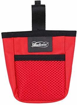赤い フリーサイズ ペット 訓練バッグ 犬用ポーチ お菓子バッグ ウエストバッグ 餌入れ フック付き お散歩バッグ 多機能 大容_画像1