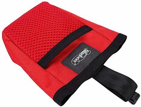 赤い フリーサイズ ペット 訓練バッグ 犬用ポーチ お菓子バッグ ウエストバッグ 餌入れ フック付き お散歩バッグ 多機能 大容_画像3