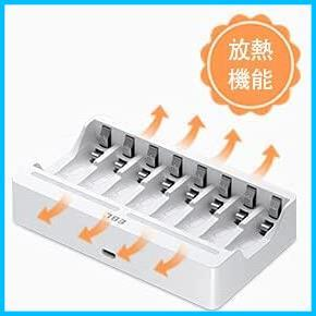 EBL 単3形充電池充電器セット 8スロット充電器+単3電池(2800mAh*8)セット 単三単四ニッケル水素/ニカド充電池に対応_画像4