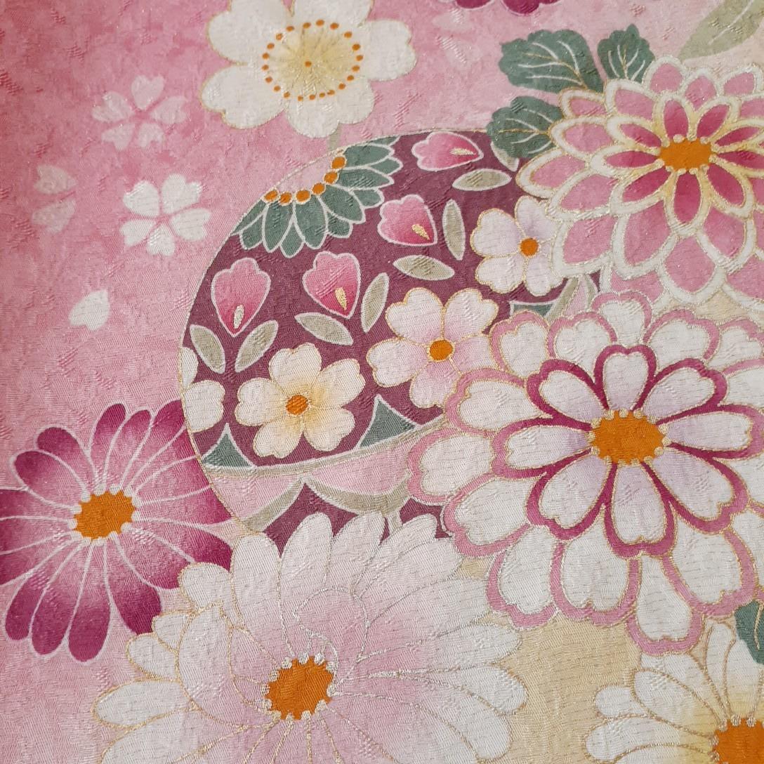 正絹 91796 ピンク色 花柄 シルク230cm はぎれ ハギレ リメイク ハンドメイド