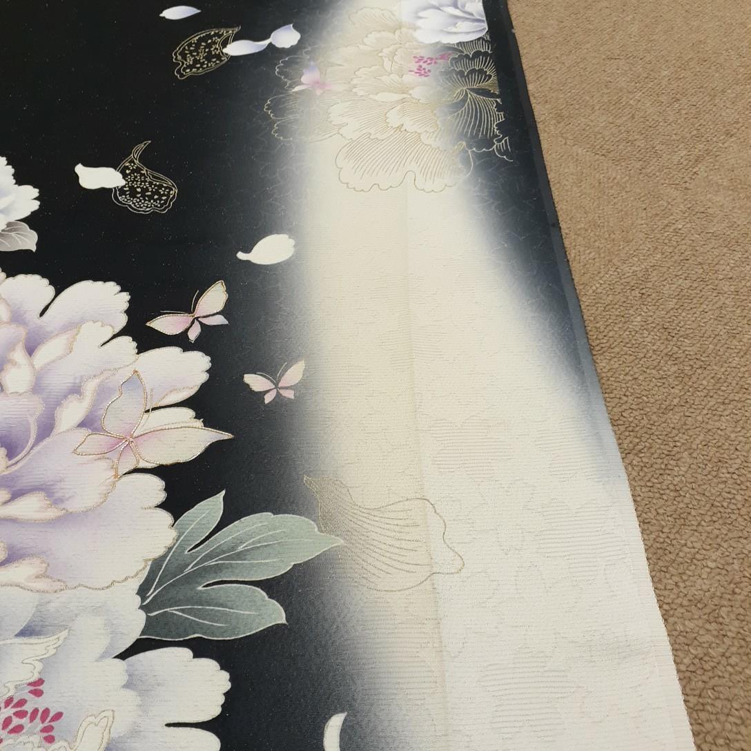 正絹 92204 黒色 花柄 シルク350cm はぎれ ハギレ リメイク ハンドメイド