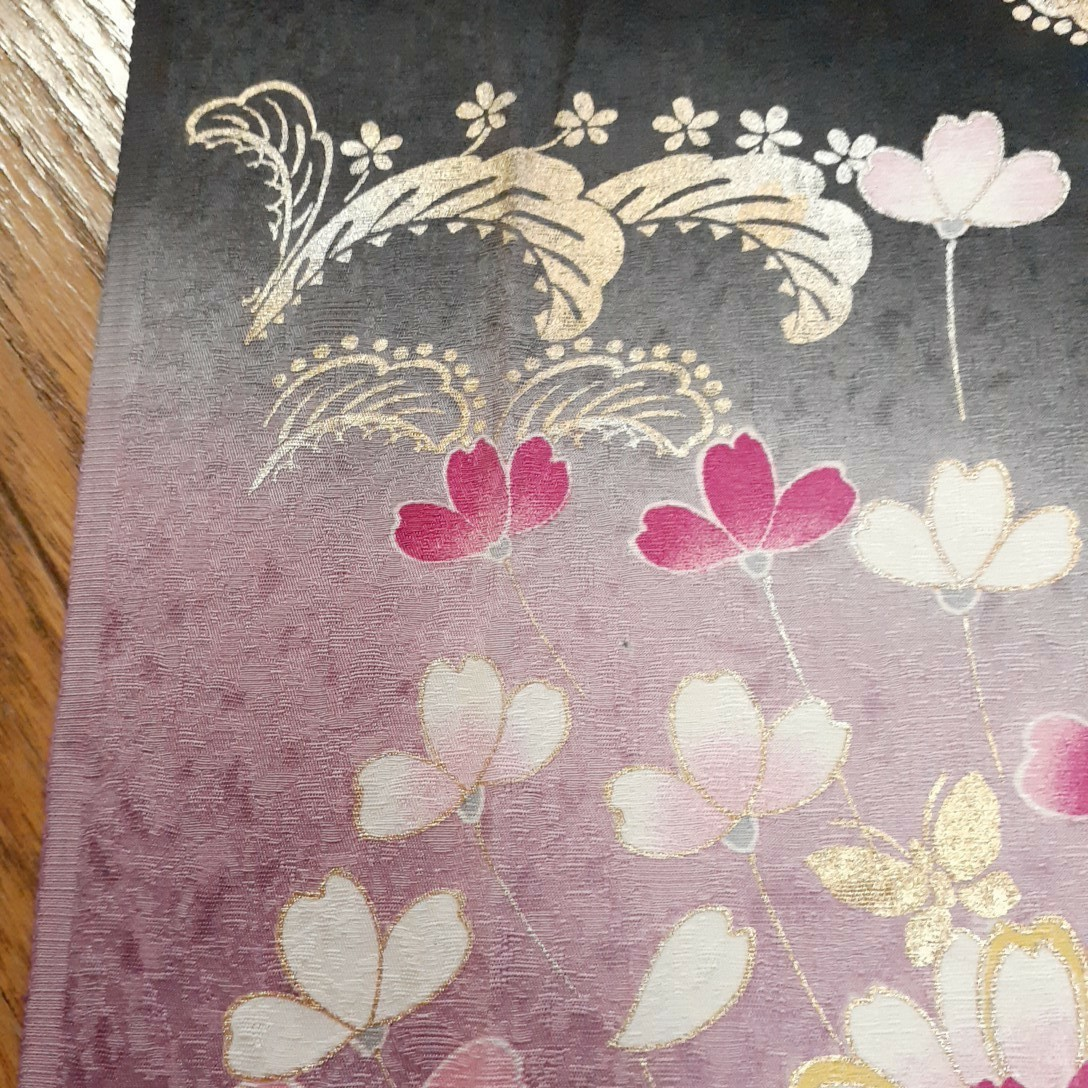 正絹 92409 黒色 紫色 花柄 シルク350cm はぎれ ハギレ リメイク ハンドメイド