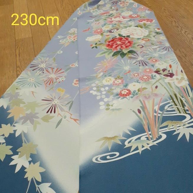 正絹 90501 水色 薄紫色 花柄 シルク230cm はぎれ ハギレ リメイク ハンドメイド