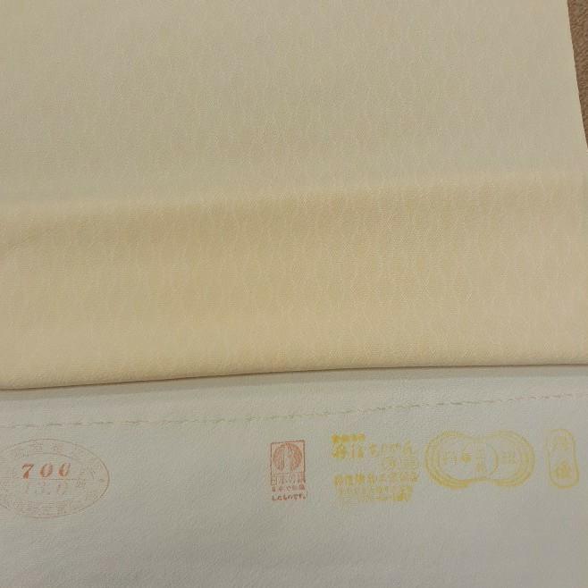 正絹 縦涌 江戸小紋 クリーム色黄色 シルク200cm はぎれ ハギレ リメイク ハンドメイド