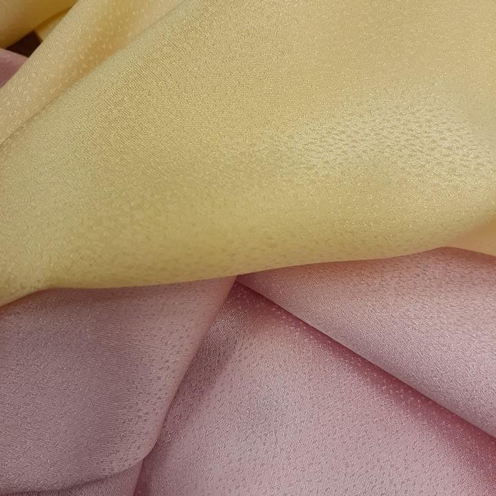 正絹 90106 薄手 無地 ピンク色 黄色 シルク2枚 はぎれ ハギレ リメイク ハンドメイド