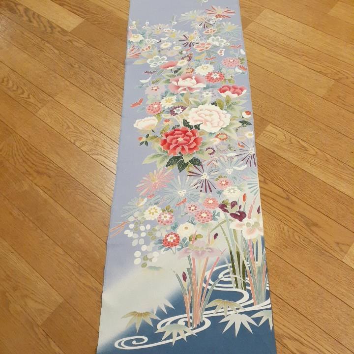 正絹 90502 水色 薄紫色 花柄 シルク230cm はぎれ ハギレ リメイク ハンドメイド