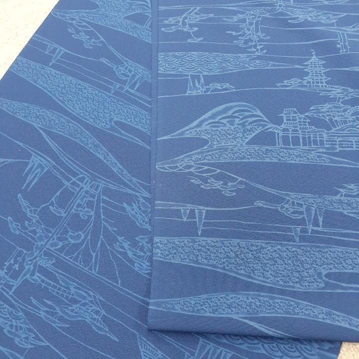 正絹 90801 藍色 藍染小紋 シルク260cm はぎれ ハギレ リメイク ハンドメイド