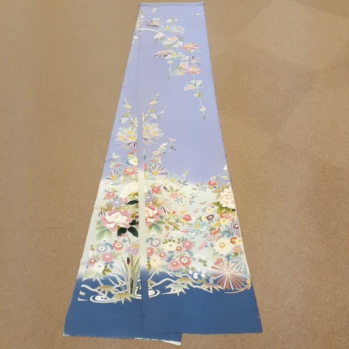 正絹 91004 薄紫色 花柄 あやめ 菊 シルク350cm はぎれ ハギレ リメイク ハンドメイド