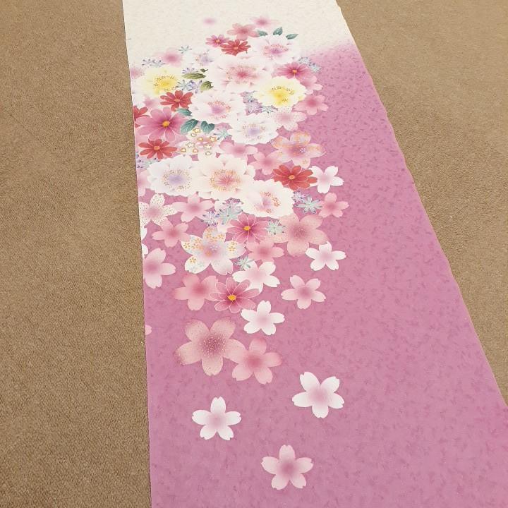 正絹 91402 白色 ピンク色 花柄 桜柄 シルク200cm はぎれ ハギレ リメイク ハンドメイド