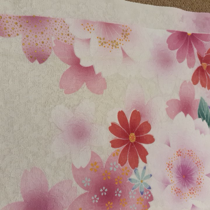 正絹 91403 白色 ピンク色 花柄 桜柄 シルク130cm はぎれ ハギレ リメイク ハンドメイド