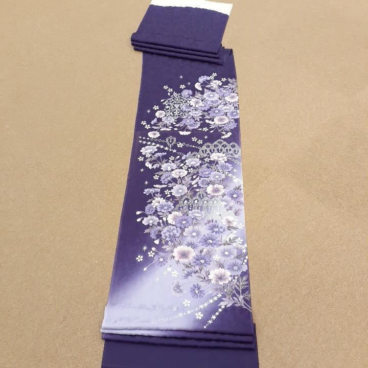 正絹 91404 紫色 ぼかし 花柄 シルバー色 シルク230cm はぎれ ハギレ リメイク ハンドメイド