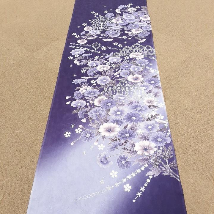 正絹 91405 紫色 ぼかし 花柄 シルバー色 シルク230cm はぎれ ハギレ リメイク ハンドメイド