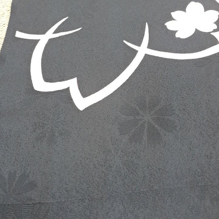 正絹 91407 黒色 花柄 桜柄 シルク130cm はぎれ ハギレ リメイク ハンドメイド