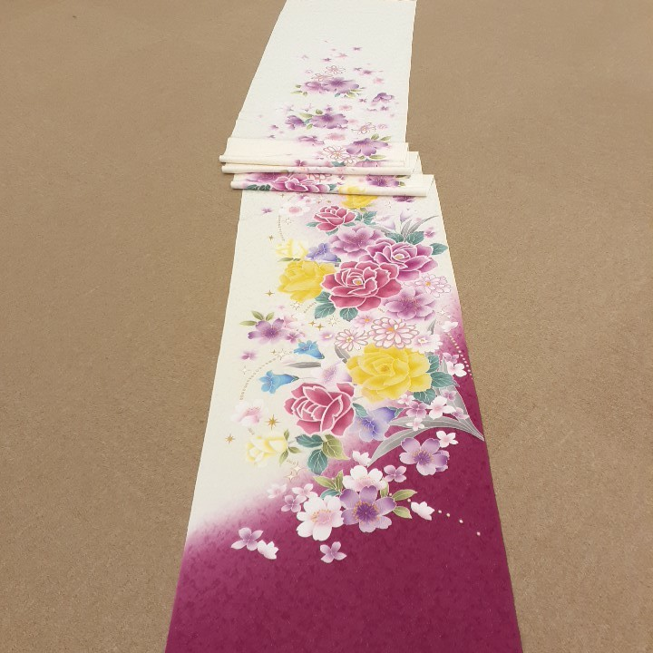 正絹 91504 白色 ピンク色 花柄 シルク230cm はぎれ ハギレ リメイク ハンドメイド