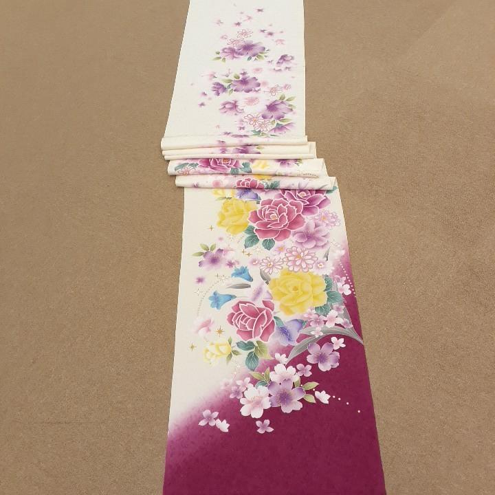 正絹 91505 白色 ピンク色 花柄 シルク230cm はぎれ ハギレ リメイク ハンドメイド