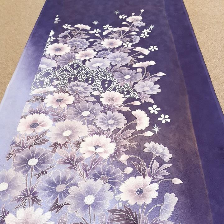 正絹 91702 紫色 シルバー色 シルク350cm はぎれ ハギレ リメイク ハンドメイド 古布 アンティーク