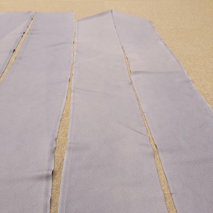 正絹 91704 薄紫色 シルバー色 シルク3枚 はぎれ ハギレ リメイク ハンドメイド