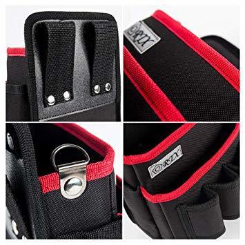 ブラック+レッド M 腰袋 2段 電工 工具袋 腰 工具入れ 工具差し付 ツールバッグ ポケット多数 (約)幅17cm&time_画像4
