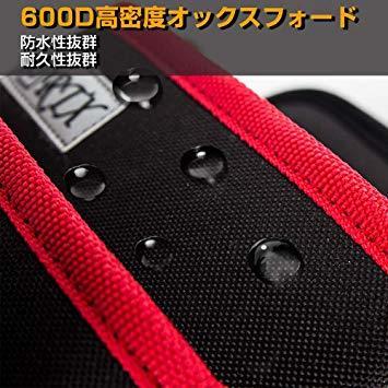 ブラック+レッド M 腰袋 2段 電工 工具袋 腰 工具入れ 工具差し付 ツールバッグ ポケット多数 (約)幅17cm&time_画像5