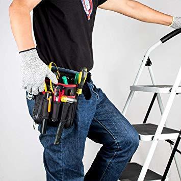 ブラック+レッド M 腰袋 2段 電工 工具袋 腰 工具入れ 工具差し付 ツールバッグ ポケット多数 (約)幅17cm&time_画像6
